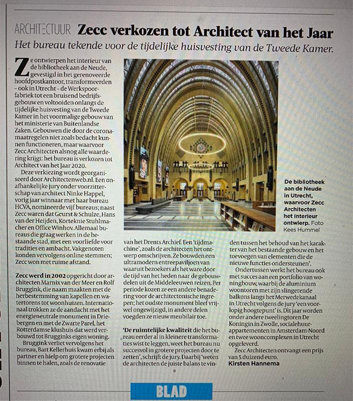 Zecc architect van het jaar 2020 maar Bouwmanagement